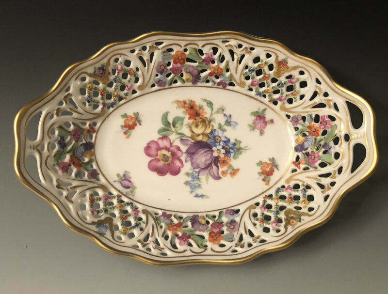 "Schumann Bavaria Germany Chateau Dresden Flowers Reticulated 7 1/2""Oval Nut Dish"
