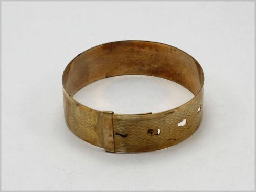 Vintage Gold Tone Bangle Bracelet with Belt Design