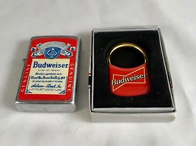 Vintage BUDWEISER BEER Lighter and Key Ring
