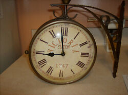Victoria Station Hanging Wall Clock Double Sided Analog 1747 Vintage 8 diameter