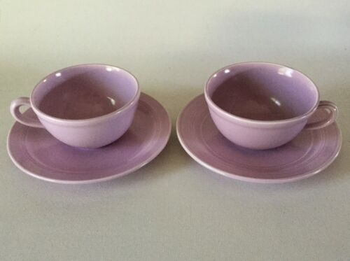 2 CUP & SAUCER Sets 6 oz Vernon MODERN CALIFORNIA Pottery 1930s Orchid Lavender