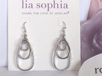 Lia Sophia Free Flyer Dangle Oval Tiered Hoop Earrings  Silver Toned  Nwt