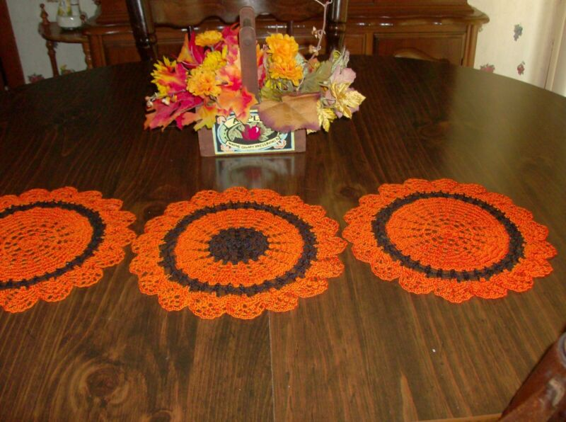 3 Orange & Black Gift Doilies for Fall/Halloween Décor   New/Handmade