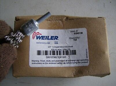 Box Of 10 Weiler 12 Crimped Wire End Brush 10016