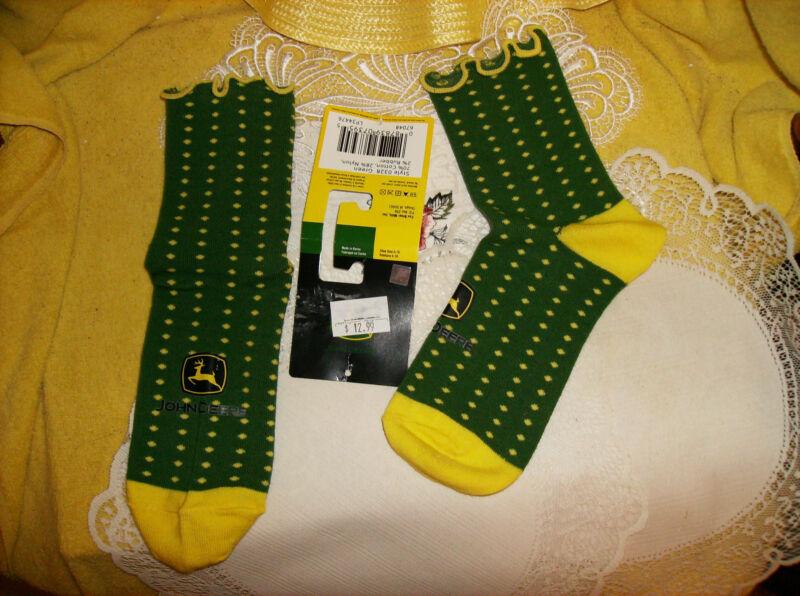 "JOHN DEERE Ladies Socks Sox Green & Yellow With ""JOHN DEERE"" Printed on & LOGO!!"