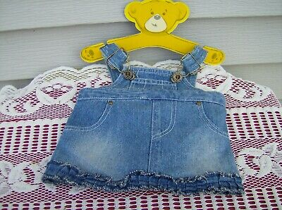 Build-A-Bear Faded Denim Bib OVERALLS BLUE JEAN SKIRT Teddy Clothes Outfit -