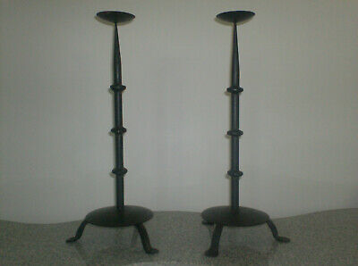 Old black wrought iron candlesticks 18