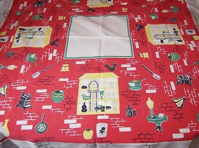 "Vintage Red and White Tablecloth with Vintage Kitchen Items Bright  51"" x 46"" Ni"
