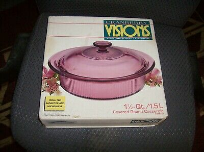 - SEALED Visions Cranberry 1 1/2 Quart/1.5 LITER Covered Round Casserole 6015084