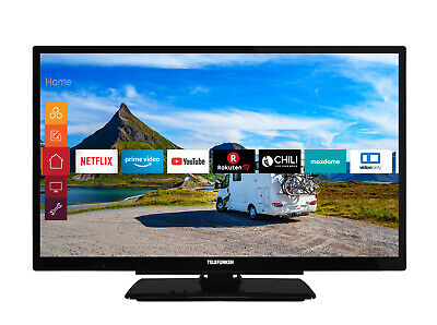 Telefunken 24 Zoll Fernseher HD-TV SmartTV 12V Works with Alexa Prime Video WLAN