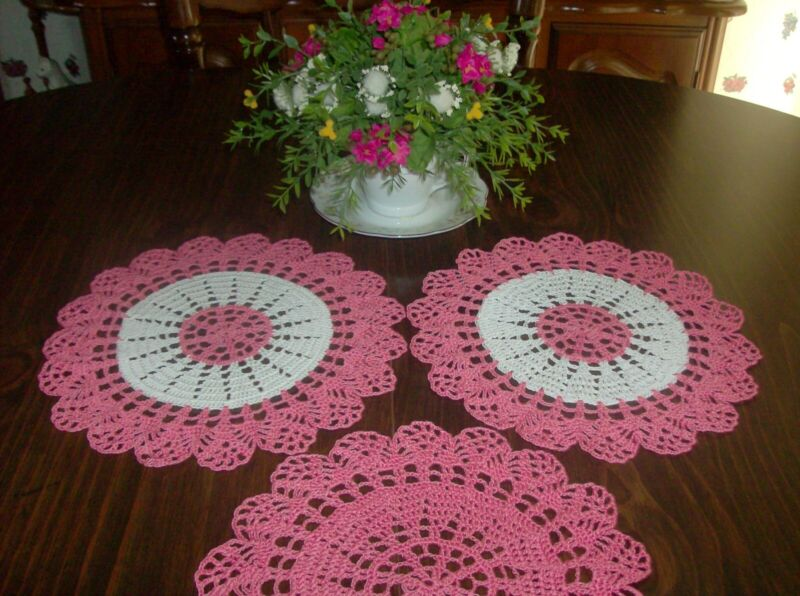 Three Coral and White Round Gift Doilies for any Décor   New/Handmade