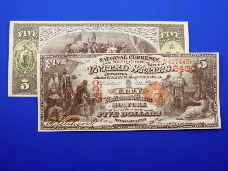 Reproduction $5 1875 National Bank Note US Paper Money Currency Copy