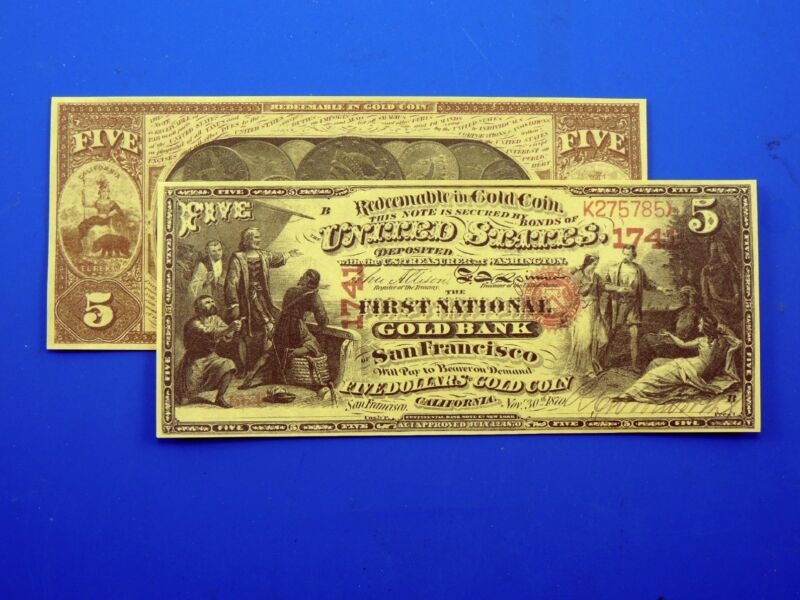 Reproduction $5 1870 Gold US Paper Money Currency Copy