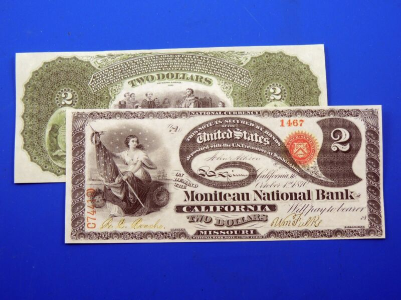 Reproduction $2 1870 National Bank Note US Paper Money Currency Copy