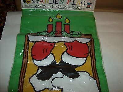 Christmas Garden Flag With Stuck Santa In Chimney Fits Most Standard Poles
