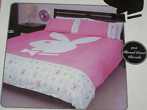 playboy bunny logo pink white 225 thread count king bed quilt cover