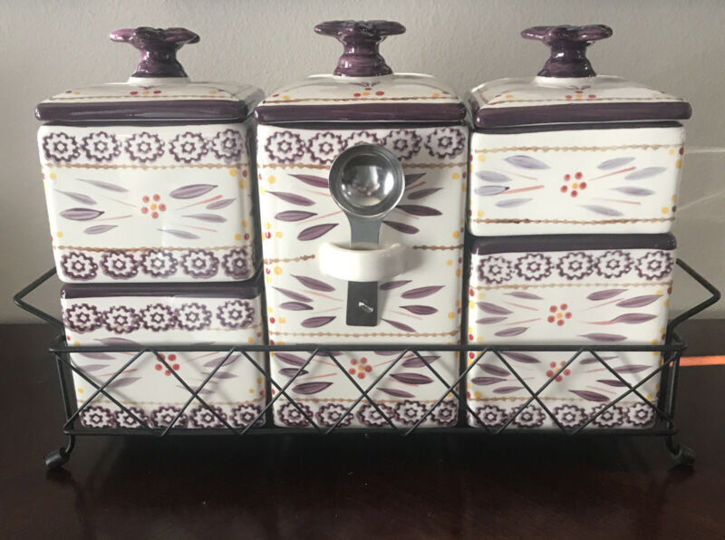 Temptations By Tara Old World Eggplant Purple Stackable Five Canister Set