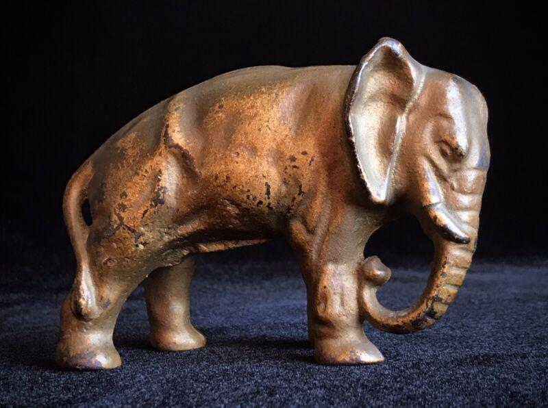 ORIGINAL ANTIQUE - PIGGY BANK - CAST IRON JUMBO ELEPHANT CIRCUS BANK EX. COND.
