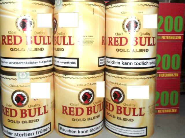 6 x Zigarettentabak Feinschnitt Tabak  Red Bull Golden Blend 120 g & 600 Hülsen