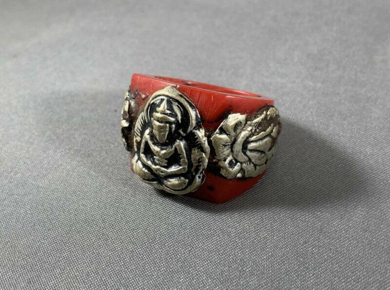 Tibetan Ring Red Copal Buddha Lotus Silver Repousse Jewelry Size 9