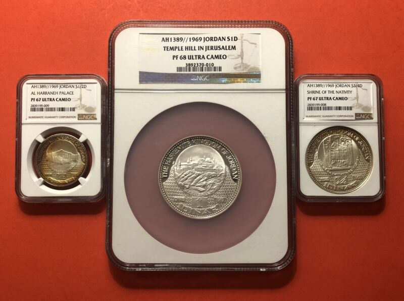 1969-JORDAN-3 SILVER PROOF COINS(1/2,3/4 &1 DINAR),GRADED BY NGC 67-68DCAM..RARE