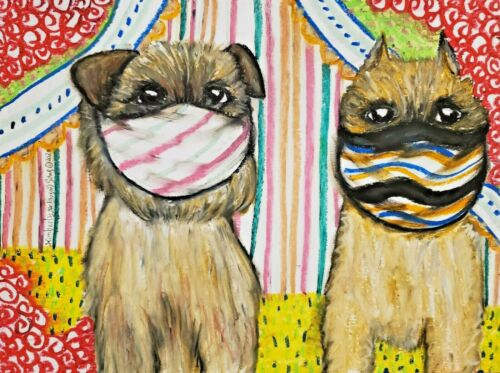 Brussels Griffon in Quarantine Art Print 4x6 Dog Collectible Signed Artist KSams
