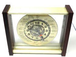 24 HOUR PLASTIC WORLD TIME DESK / WALL CLOCK GMT ZULU HAM 9 SQUARE