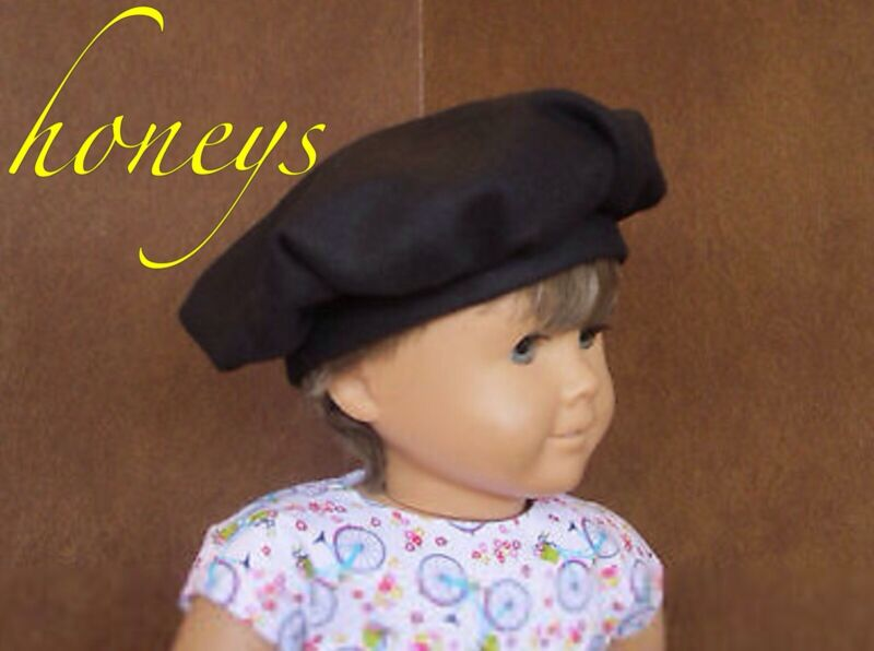 For American Girl & Bitty Twin Accssories/Clothes BLACK WOOL BERET TAM HAT  New