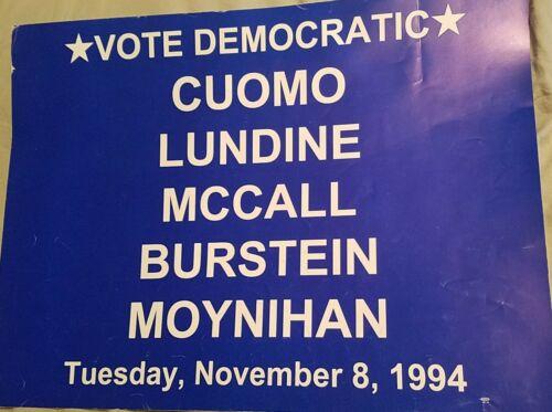 """1994 MARIO CUOMO NEW YORK GOVERNOR DANIEL MOYNIHAN U.S. SENATE 16"""" X 34"""""""