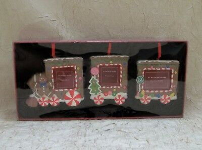 Gingerbread Train Set Of Three Resin Photo Christmas Ornament Cookie Holiday New
