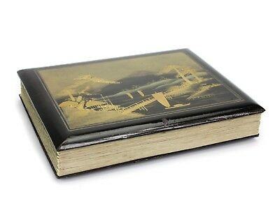 Japanese Lacquered Wood Postcard Album with 13 Postcards - Japan & China, 1916.