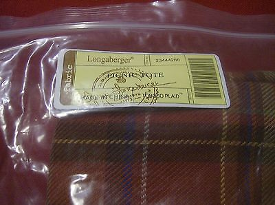 New! Longaberger PICNIC TOTE Basket LINER in TOBOSO PLAID