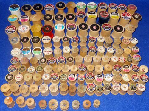 Vintage Lot of 135 Empty Wood Thread Spools - Sew Craft