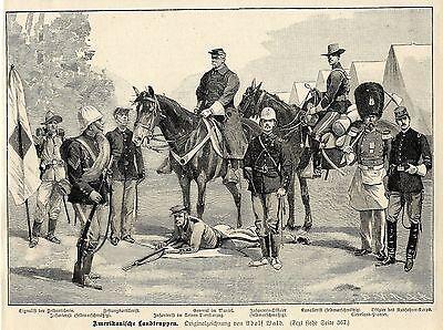 Adolf Wald ( Amerikanische Landtruppen ) Militärische Graphik von 1898