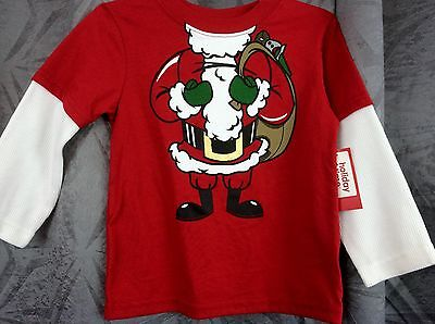Toddler boys Christmas Santa Suit shirt 12M, 18M, 24M, 3T red with long sleev - Boys Santa Suit