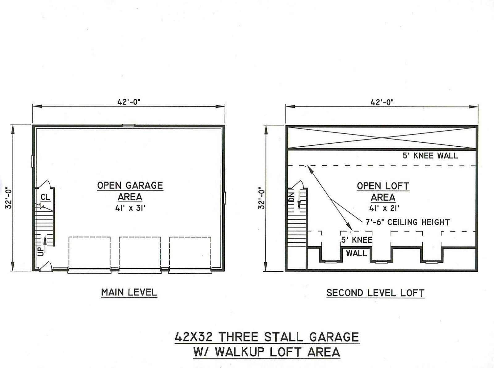42x32 3 Car Garage Building Blueprint Plans With Walk Up