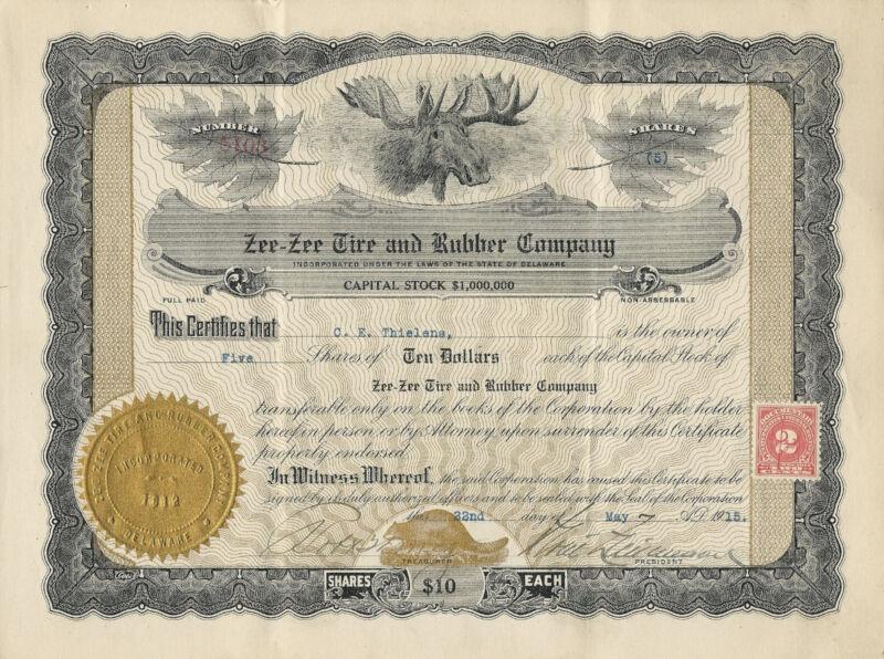 DELAWARE 1915, Zee Zee Tire & Rubber Company Stock Certificate