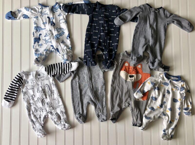 Baby Boy Newborn Sleepers Lot Of 7 Carter's Old Navy Wonder Nation