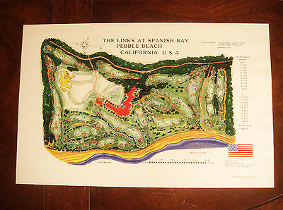Vintage LINKS AT SPANISH BAY GOLF COURSE PEBBLE BEACH Print
