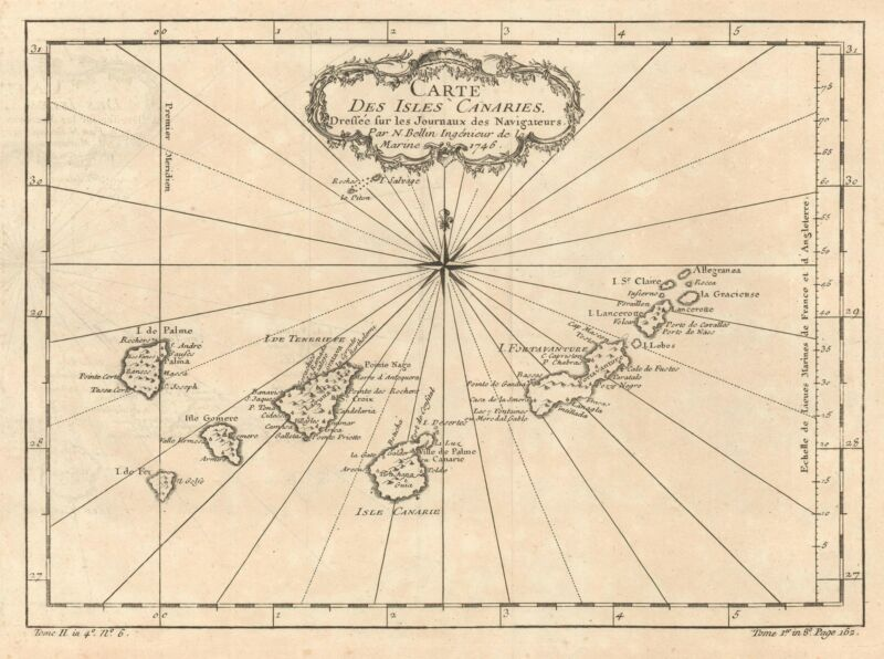 1746 Bellin Map of Canary Islands