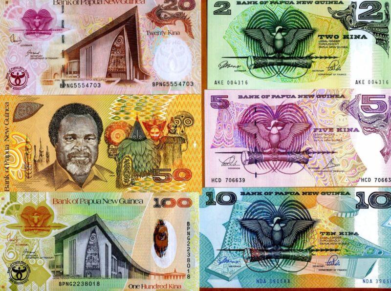 Complete Set, Papua New Guinea, 2;5;10;20;50;100 Kina, 1981-2008 P-Vary, UNC