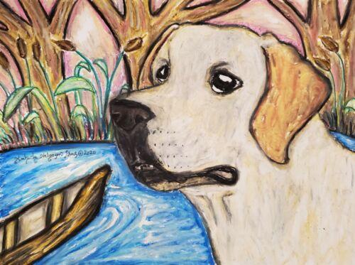 Labrador Retriever 13x19 Dog Art Print Collectible Signed by KSams Yellow Lab