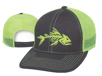 Neon Bonefish MESH Back Structured Adjustable Safety Boating Fishing Hat a3264aaaa30f