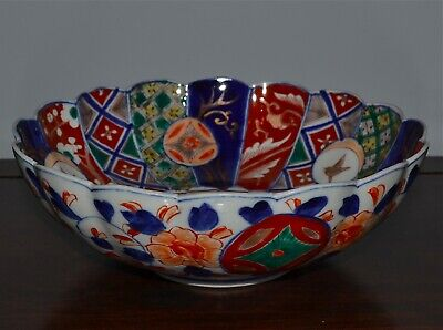 Japan Scalloped Bowls With Peacock /& Flower Design Japanese Bowl