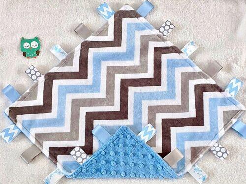 NEW Double Minky! Blue Chevron Minky & Blue Minky Taggie Tag Security Blanket
