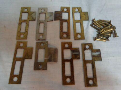 8 Old Antique Brass Over Steel Door Jamb  Mortise Lock Strike Plates W/ Screws
