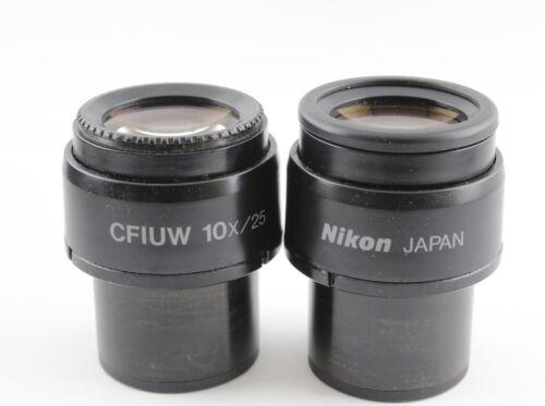 Pair Nikon CFIUW 10x 25 Microscope Eyepieces Eclipse E I
