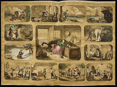 Raro 1853ca - Bambini Famosi - Matrice Enciclopedico,Scuola,Manifesto