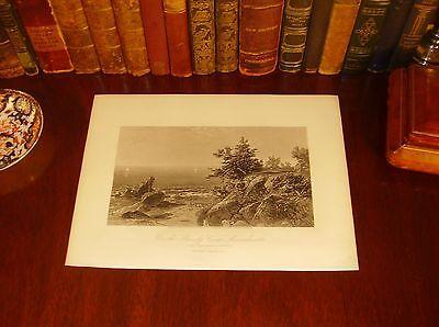 Antique Panoramic Map Print - Original 1874 Antique MASSACHUSETTS COAST Steel Engraved Panoramic Map Print