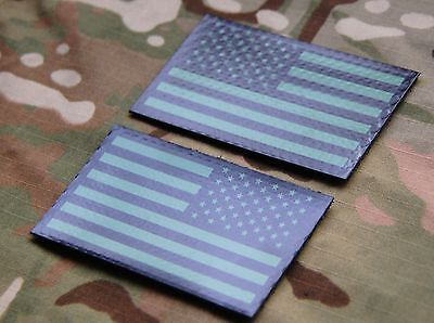 Infrared US Flag Patch Set Green & Black Navy SEAL NSWDG US Army DEVGRU AOR2 IR